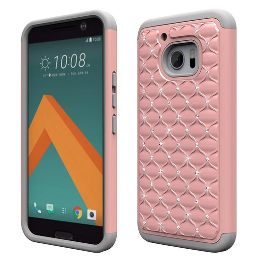HTC10 Cases, HTC 10 Case, Boonix Rugged [Easy Grip] Hybrid Defender, Anti Slip Hard PC + Soft Silicone Combo ShockProof Mobile Cover, 2 in 1 Protective Bumper with Kickstand [Crystal Rose Gold]