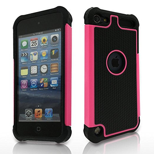 APPLE iPod Touch 6 case, High Quality Scratch-Resistant Dual Layer Hybrid Protective Case and Shockproof Bumper by Boonix [Hot Pink]