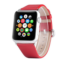 Apple Watch Band, Apple Watch Series 2 Bands, Boonix Top-Grain Genuine Leather Loop w/ Metal Clasp for Apple Watch All Models, Sweat-resistant Pre-assembled Easy Replacement [42mm Red Classic]