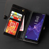 Samsung Galaxy S9 Plus Wallet Black Case, [Folio Cover] [Stand Feature] Premium Credit Card Flip Case Protective Luxury PU Leather with Card Slot + Side Pocket Magnetic Closure