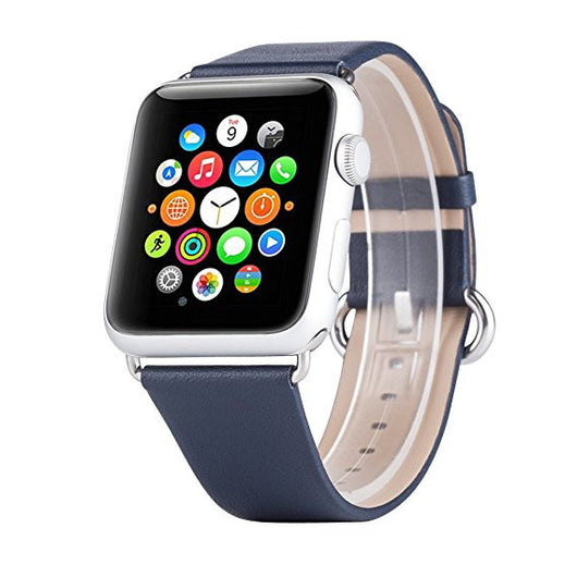 Apple Watch Band, Apple Watch Series 1 2 3 4 5 Bands, Boonix Top-Grain Genuine Leather Loop w/ Metal Clasp for Apple Watch All Models, Sweat-resistant Pre-assembled Easy Replacement [42mm Blue Classic]