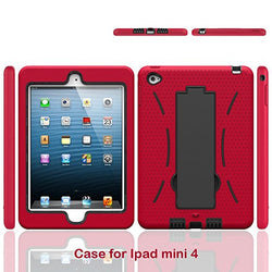 APPLE iPad Mini 4 Case, High Quality Dual Layer Hybrid Protective Case and Shockproof Bumper with Two-Way [Portrait and Landscape Mode] Side Stand by Boonix [Red]