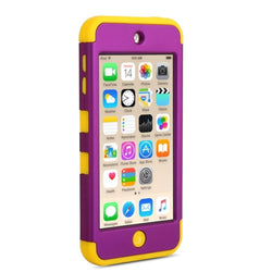APPLE iPod Touch 6 case, High Quality Scratch-Resistant Dual Layer Hybrid Protective Case and Shockproof Bumper by Boonix [Yellow/Royal Purple]