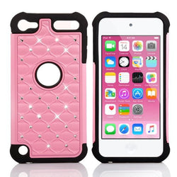 APPLE iPod Touch 6 case, High Quality Scratch-Resistant Dual Layer Hybrid Protective Case and Shockproof Bumper by Boonix [Pink w/ Crystal]