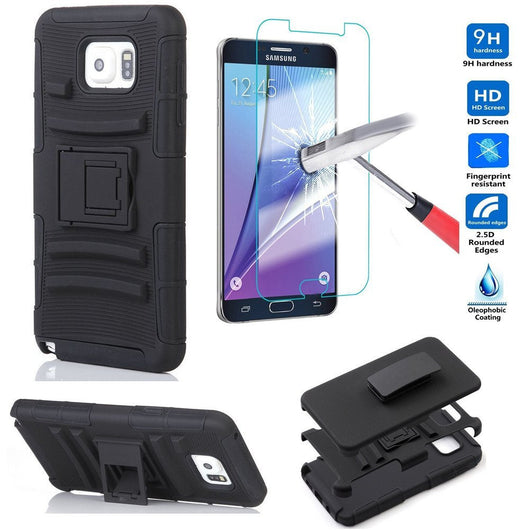 Galaxy Note 5 Case, Anti-Slip Hybrid Defender Protective Case with Tempered Glass Screen Protector, Full Protection Shockproof Shell by BOONIX [Black]