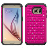 S7 Cases, Samsung Galaxy S7 Case with Screen Protector, Boonix Scratch-Resistant Dual Layer Hybrid Protective Shell and Shockproof Bumper + Shatterproof Screen Protector [Rose Pink w/ Crystal + Shatterproof Screen Protector]
