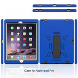 APPLE iPad Pro Protector, Heavy Duty Scratch-Resistant Dual Layer Hybrid Protective Case and Shockproof Bumper with Kickstand by Boonix [12.9 inch iPad Pro - Blue with Stand]