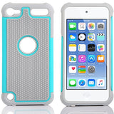 APPLE iPod Touch 6 case, High Quality Scratch-Resistant Dual Layer Hybrid Protective Case and Shockproof Bumper by Boonix [Teal Blue]