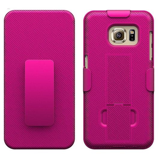 S7 Cases, Samsung Galaxy S7 Case with Screen Protector, Boonix Scratch-Resistant Dual Layer Hybrid Protective Shell and Shockproof Bumper + Shatterproof Screen Protector [Rose Pink w/ Holster + Shatterproof Screen Protector]