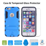 iPhone SE Protective Case with Tempered Glass Screen Protector, Shockproof Bumper Shell with Kickstand For Apple iPhone SE 2016 & iPhone 5S 5 by BOONIX [Blue]