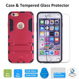 iPhone SE Protective Case with Tempered Glass Screen Protector, Shockproof Bumper Shell with Kickstand For Apple iPhone SE 2016 & iPhone 5S 5 by BOONIX [Red]