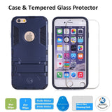 iPhone SE Protective Case with Tempered Glass Screen Protector, Shockproof Bumper Shell with Kickstand For Apple iPhone SE 2016 & iPhone 5S 5 by BOONIX [Navy Blue]