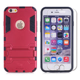 iPhone 6 6S Protective Case with Tempered Glass Screen Protector, Kick Stand Bumper Cover and Glass for Apple iPhone6 iPhone6S [4.7 inch] by BOONIX [Red]