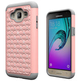 J3 Case, Express Prime Case, Amp Prime Case, Galaxy Sol Case, Boonix [Easy Grip] Hybrid Defender Case with Kickstand, Protective Cover + Stand for Samsung J3, Express Prime, Amp Prime, Galaxy Sol [Crystal Rose Gold]