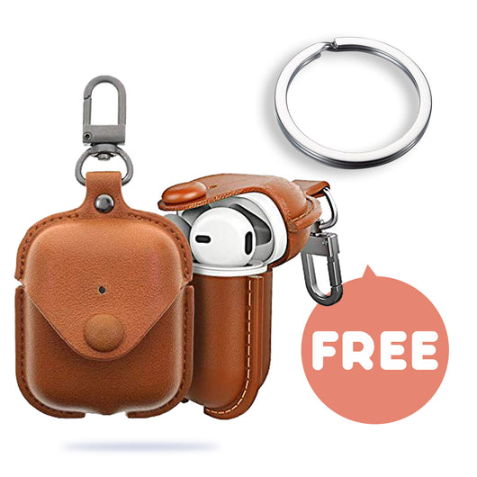 Leather airpods case, cover for air pods AirPod 2 1 Wireless Charging Cases, Earphones Earpods Cases for air pods2 1 [Light Brown]