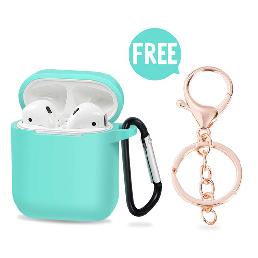 Silicone airpods case & Keychain, Cover for air pods AirPod 1 2 Wireless Charging Cases, Earphones Earpods Cases for air pods2 1 [Mint Green]