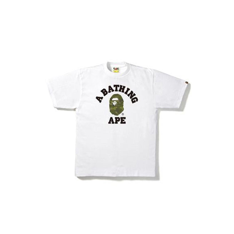 BAPE GREEN CAMO COLLEGE WHITE TEE LARGE (NEW)