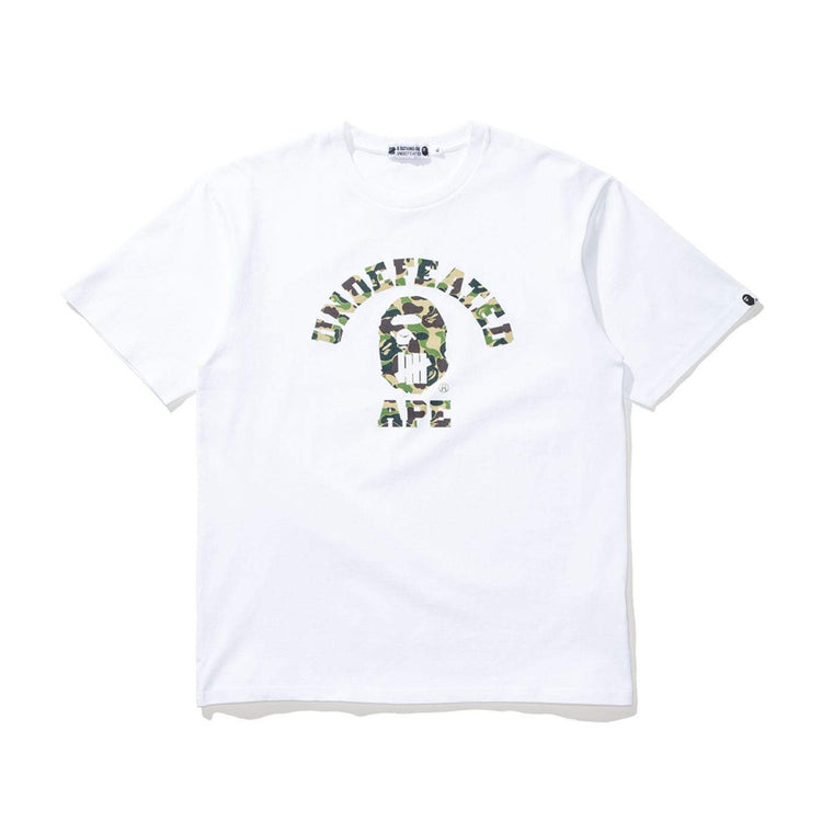 BAPE x UNDEFEATED GREEN CAMO COLLEGE LOGO BLACK TEE LARGE (NEW)