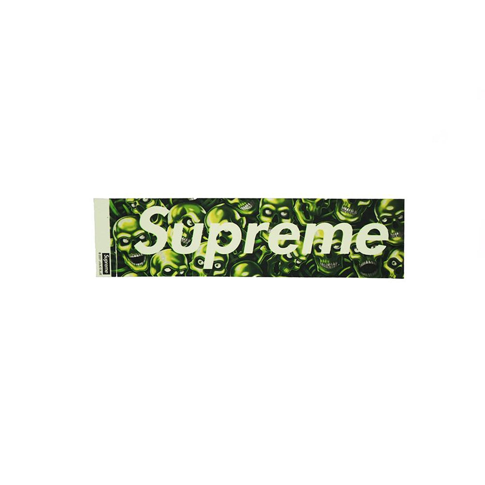SUPREME GLOW IN THE DARK SKULL PILE BOX LOGO STICKER (NEW)