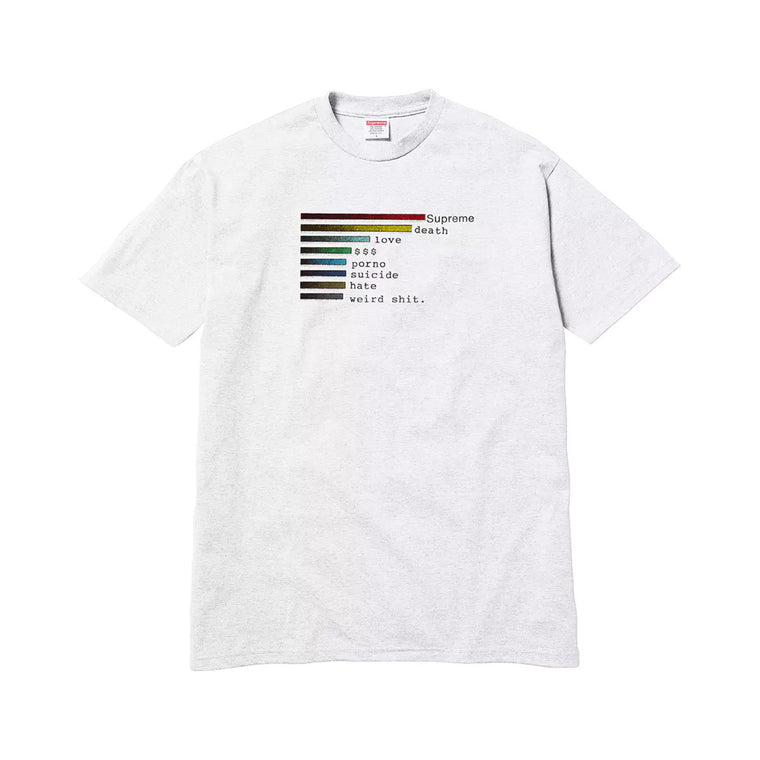 SUPREME SS18 CHART WHITE TEE LARGE (NEW)