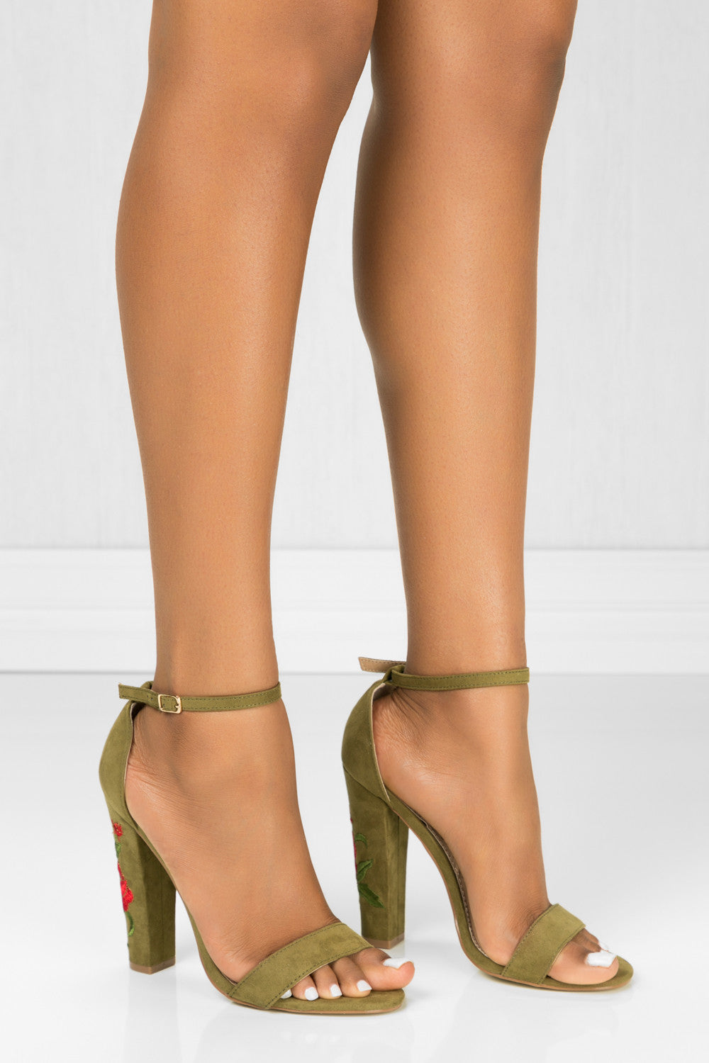 Hazel Chunky Embroidery Olive High Heels by BlaMer Shoes