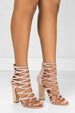 Shimmy Mauve - Blush Sparkly Caged Chunky High Heels by BlaMer Shoes