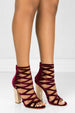 Shimmy Wine - Maroon Sparkly Caged Chunky High Heels by BlaMer Shoes