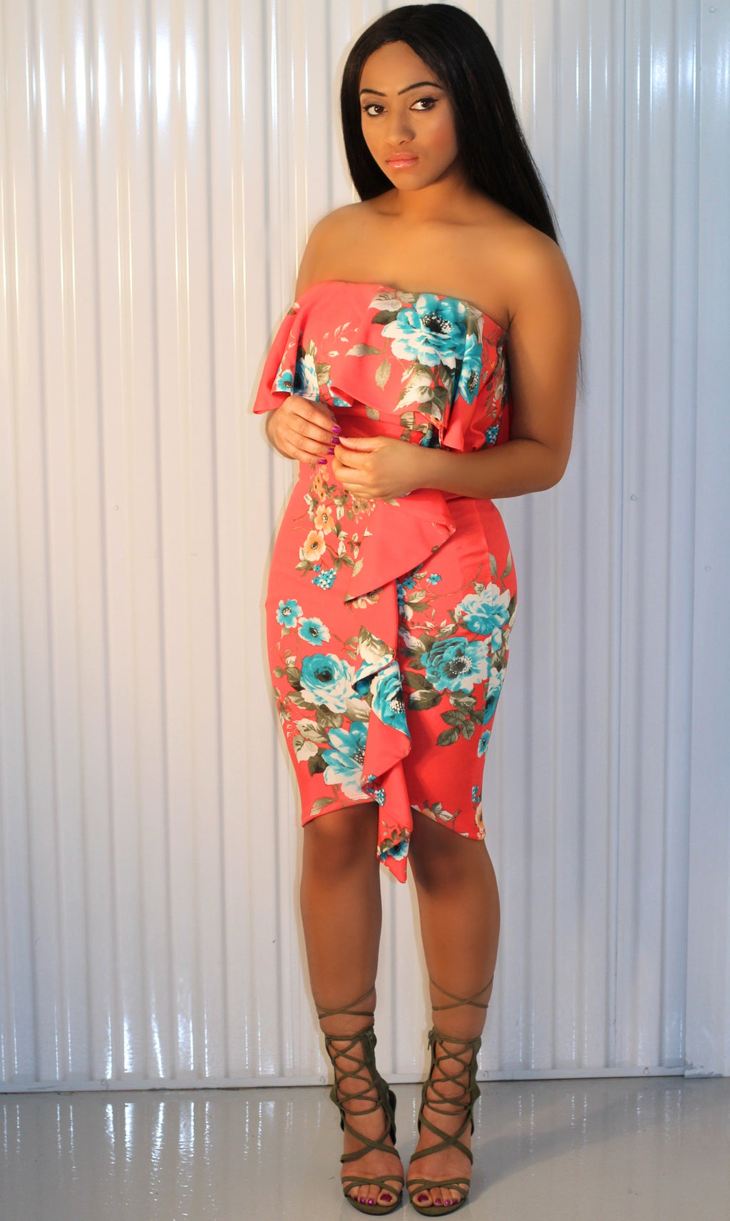 Jada - Coral Floral Dress - BlaMer Shoes