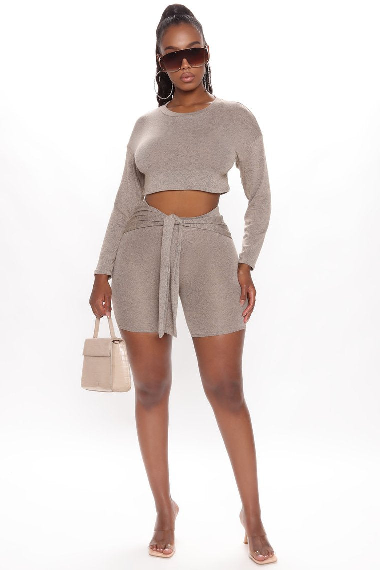 Comfortably Chic Short Set - Mocha
