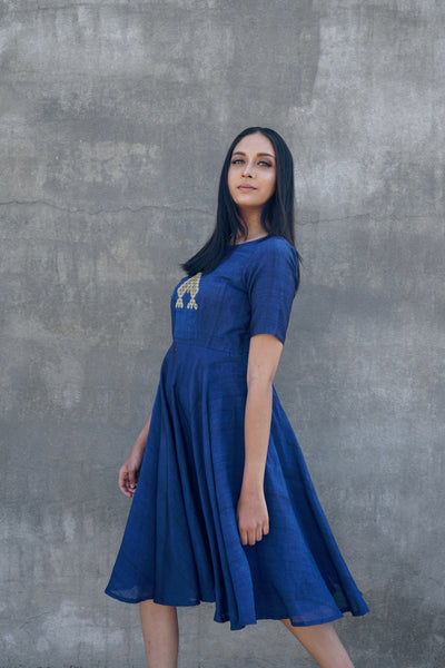 Blue flared dress