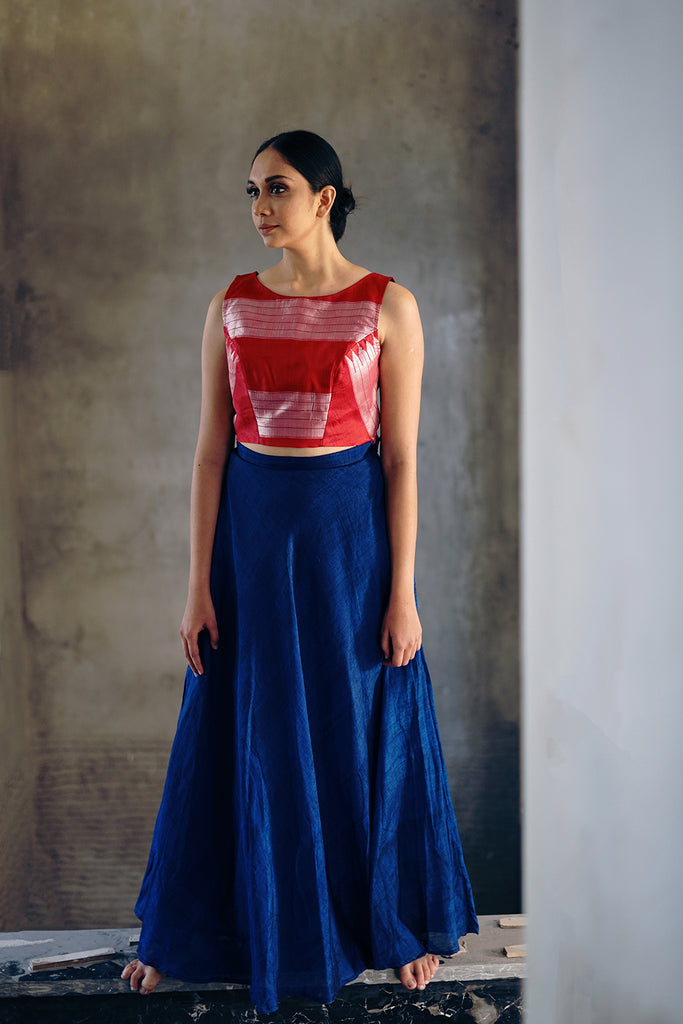 Blue flared skirt with red crop top