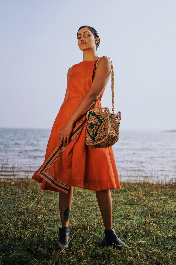 Orange flap dress