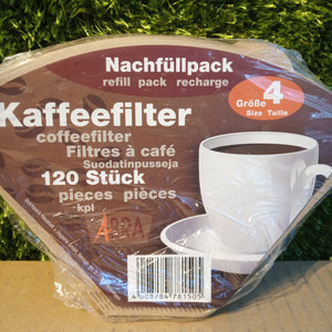 Box of 120 paper coffee filters size 4