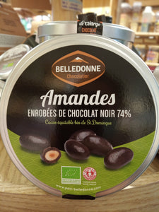 Belledonne - Dark Chocolate Almond 74% in Metal Tin Box