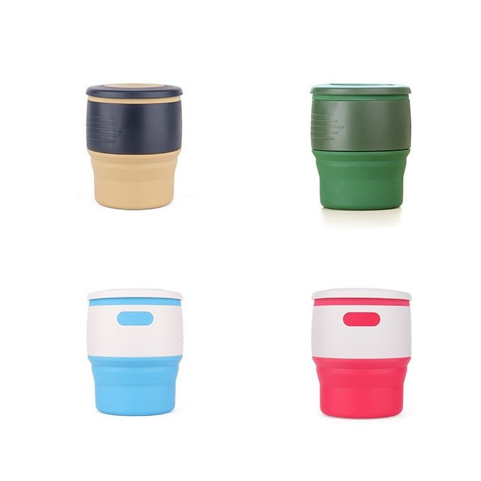 Foldable Silicon Cup 350ML - with Tea Holder