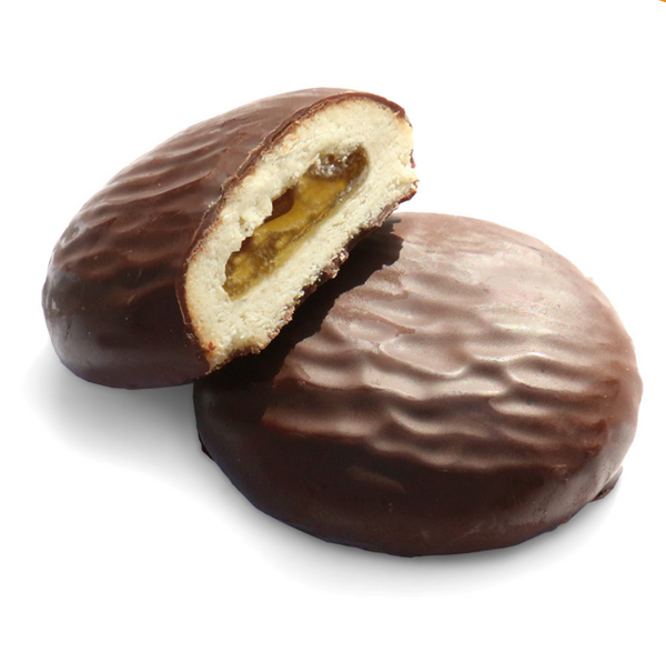Organic chocolate biscuit with orange jam