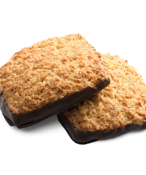 Organic coconut biscuits coated with chocolate (from France)