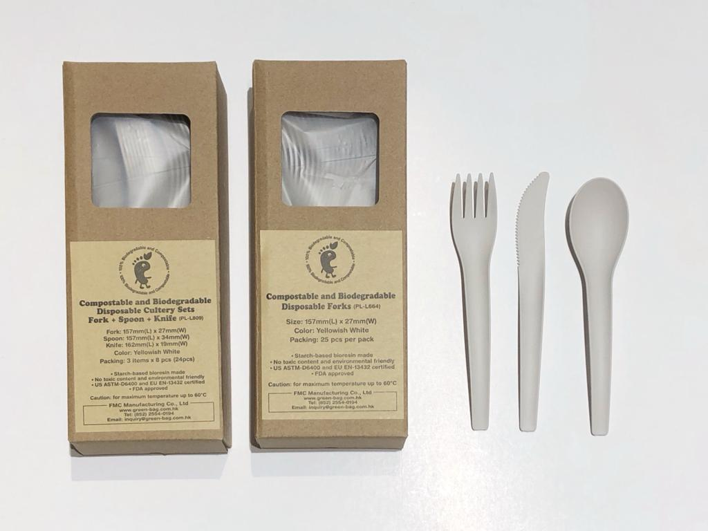 Compostable and Biodegradable Disposable Cutlery Set Fork+Spoon+Knife - 8pcs each