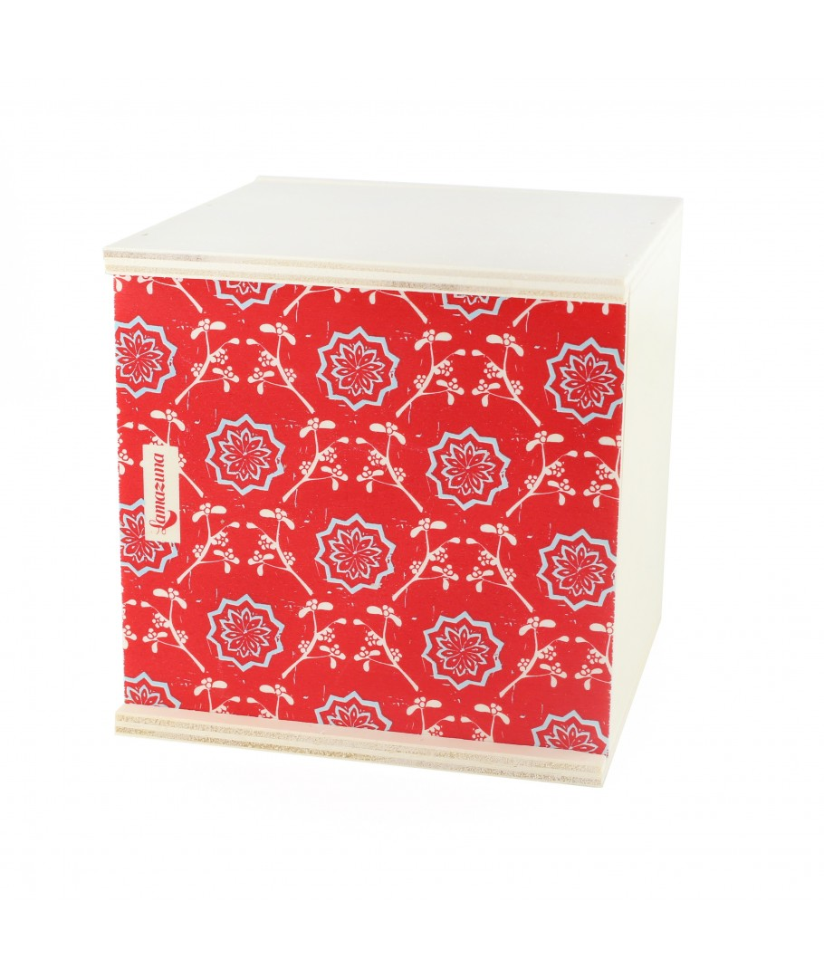 """WOODEN GIFT BOX """"Red"""" Empty - Cubic"""