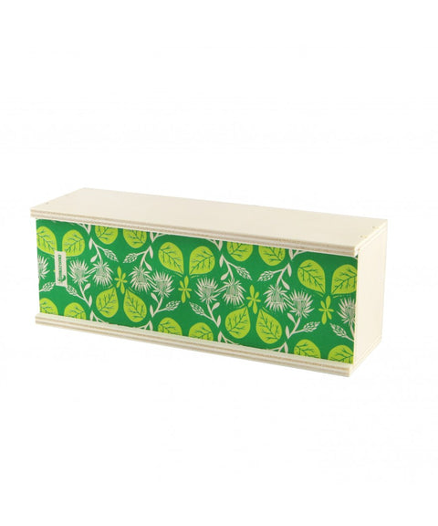 "WOODEN GIFT BOX  ""Green with leaves pattern "" Empty - Rectangular"