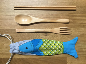 Wooden Cutlery Set w/ Fish Shape Pouch