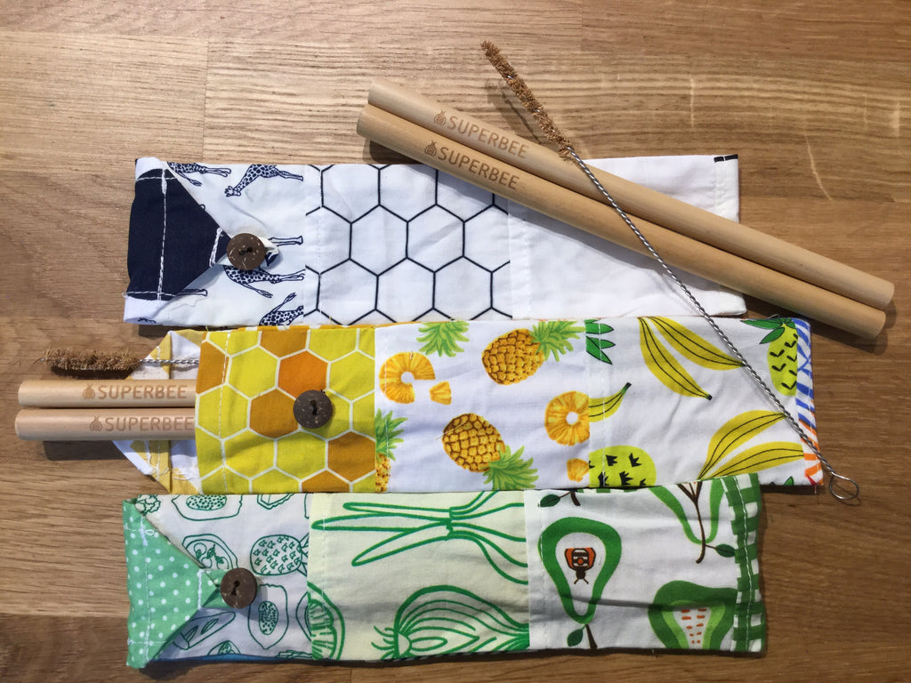 Superbee Bamboo Straw Set with Brush and Pouch