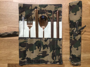 Stainless Steel Cutlery Set in Camouflage Pouch
