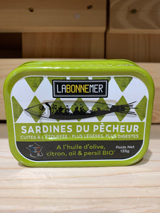 Sardines with Organic Olive Oil, Lemon, Garlic & Parsley - Fisherman's style - 135g