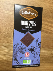 Belledonne - 74% Dark Chocolate slab with Linseed and Millet Seeds