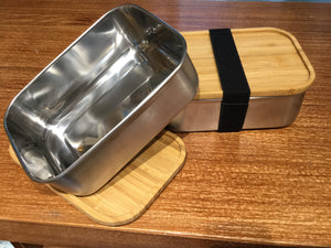 Stainless Steel container w/Bamboo Lid