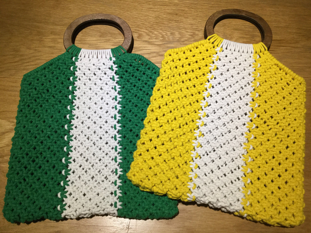 Knitted Bag with Wooden Handle