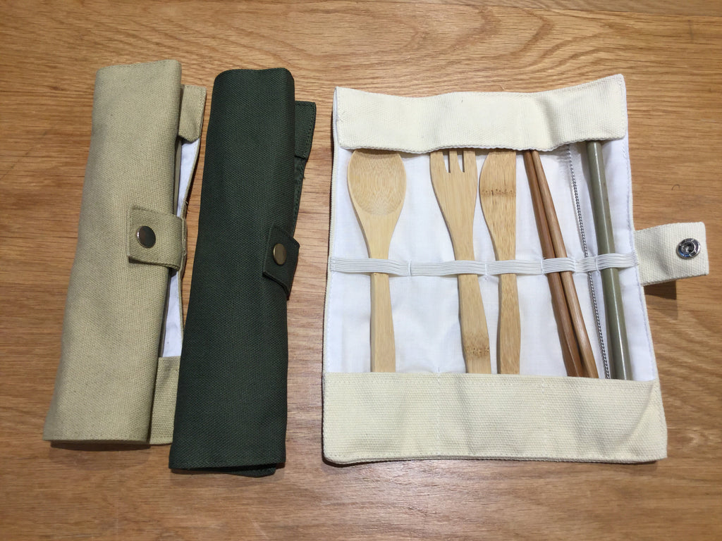 Bamboo Cutlery Set with Rolling Pouch