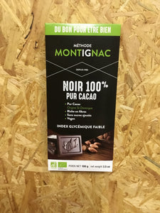 Montignac Method -  100% Pure Cacao Bar with Roasted Almonds chips - Organic & Fair Trade