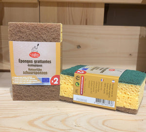 Set of 2 ecological green and brown scratching sponges